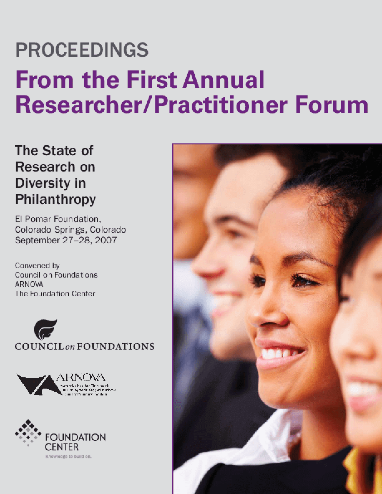 Proceedings From the First Annual Researcher/Practitioner Forum: The State of Research on Diversity in Philanthropy