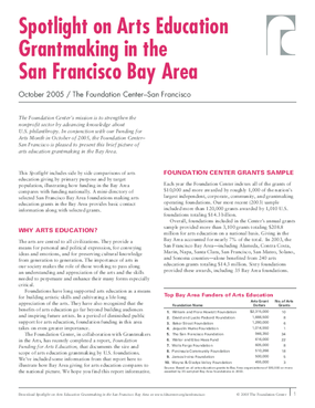 Spotlight on Arts Education Grantmaking in the San Francisco Bay Area