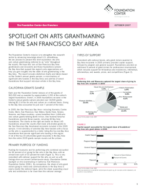 Spotlight on Arts Grantmaking in the San Francisco Bay Area 2007