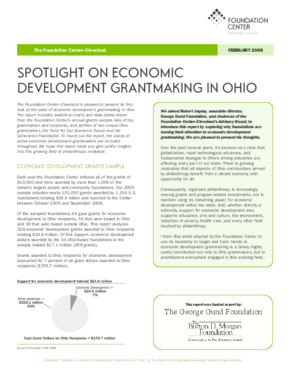 Spotlight on Economic Development Grantmaking in Ohio 2008