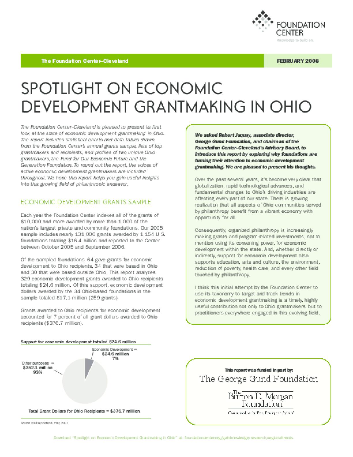 Spotlight on Economic Development Grantmaking in Ohio 2008