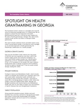 Spotlight on Health Grantmaking in Georgia 2006