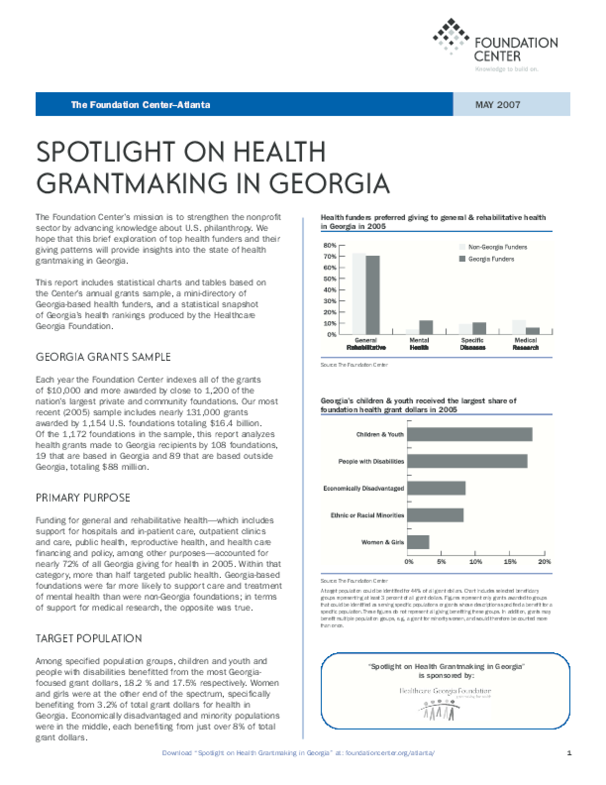 Spotlight on Health Grantmaking in Georgia 2007