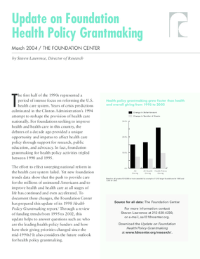 Update on Health Policy Grantmaking