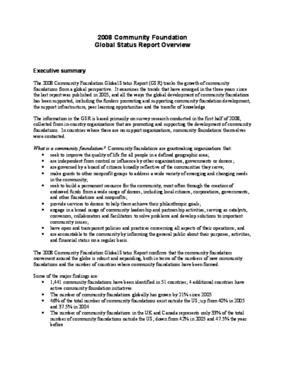 2008 Community Foundation Global Status Report