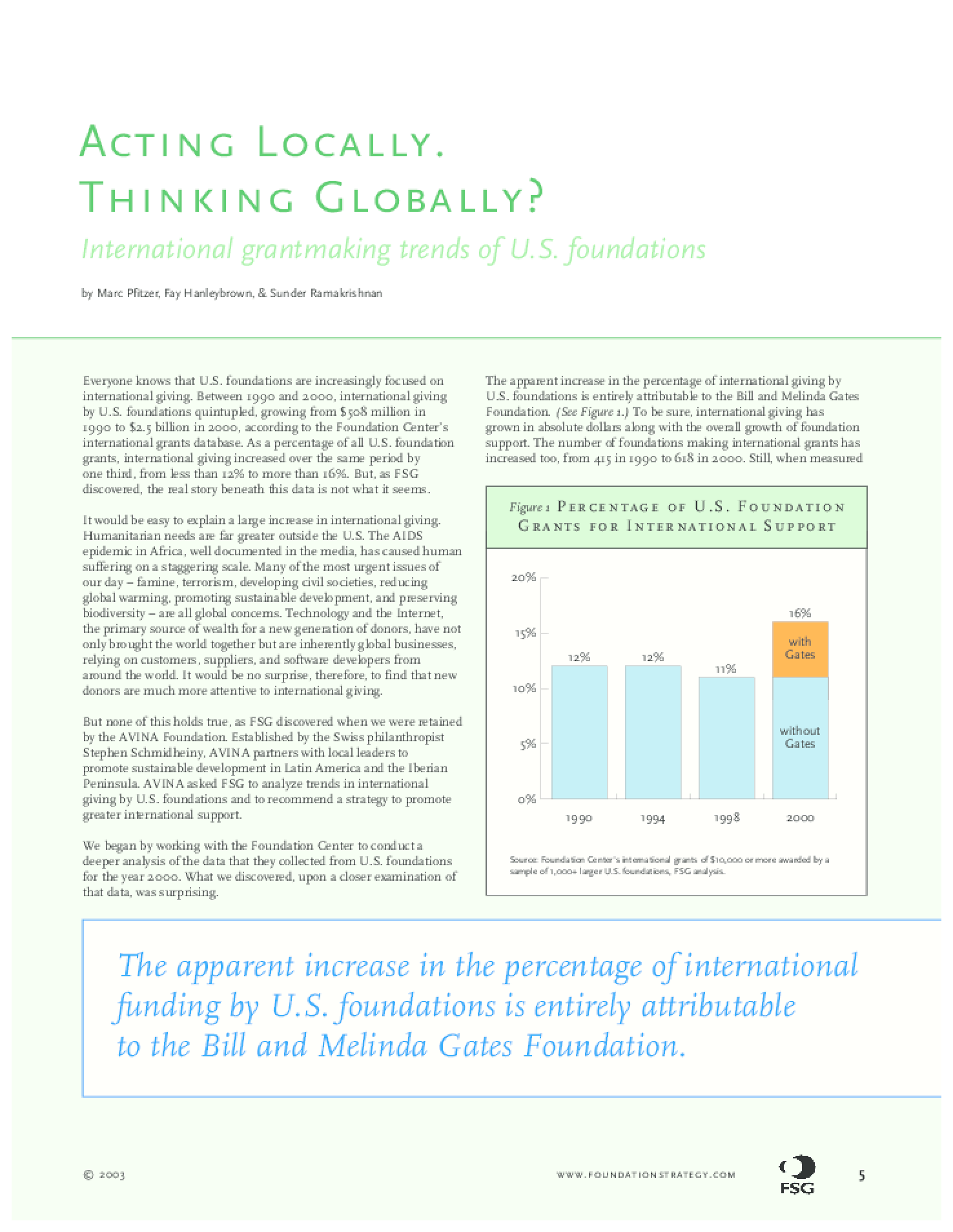 Acting Locally, Thinking Globally: International Grantmaking Trends for US foundations