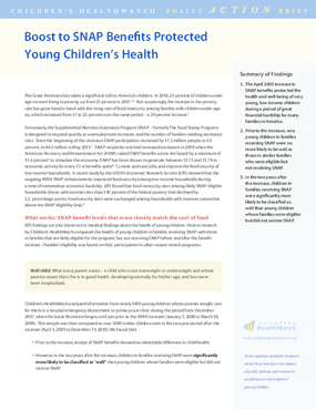 Boost to SNAP Benefits Protected Young Children's Health