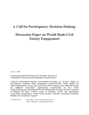 Call for Participatory Decision Making: Discussion Paper on World Bank-Civil Society Engagement