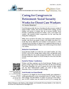 Caring for Caregivers in Retirement: Social Security Works for Direct Care Workers