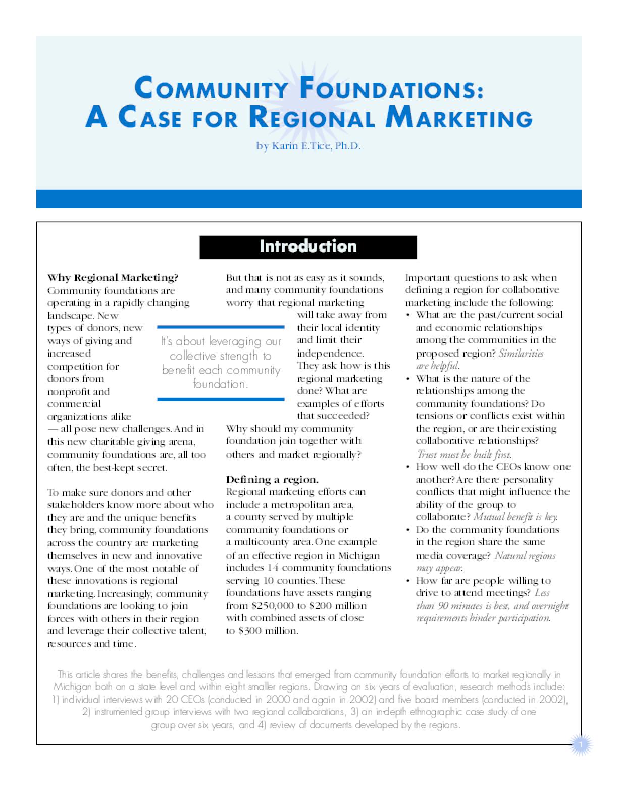 Community Foundations: A Case for Regional Marketing