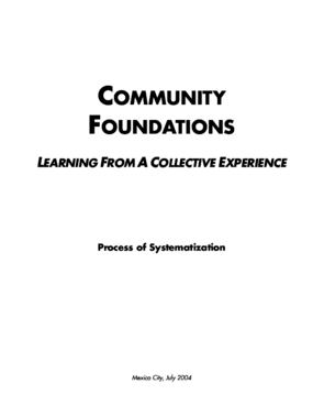 Community Foundations: Learning from a Collective Experience: Process of Systematization