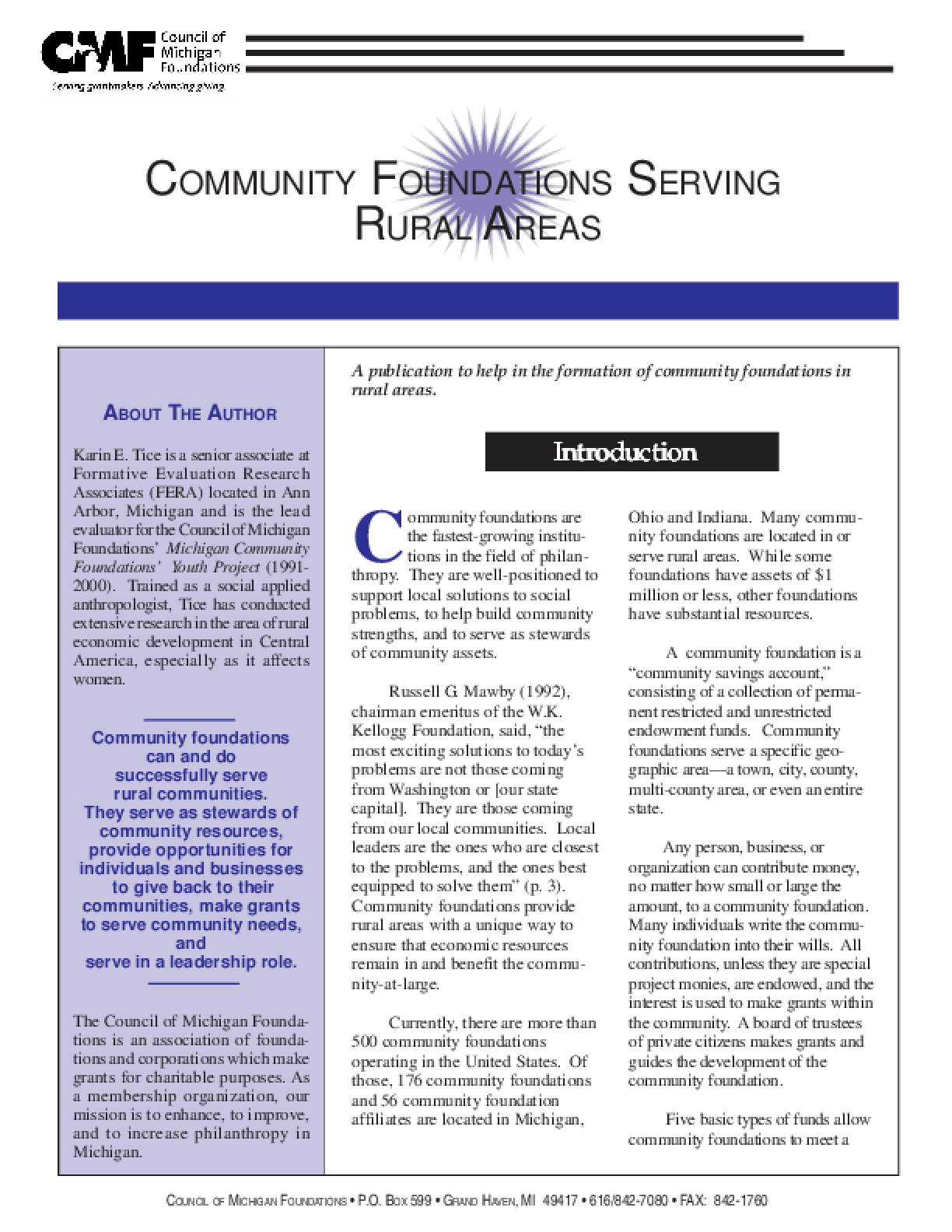Community Foundations Serving Rural Areas