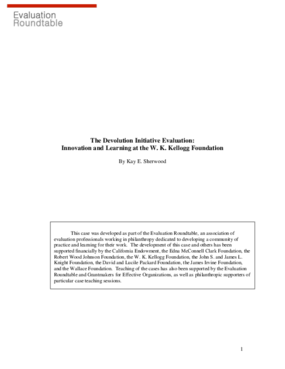 The Devolution Initiative Evaluation: Innovation and Learning at the W. K. Kellogg Foundation