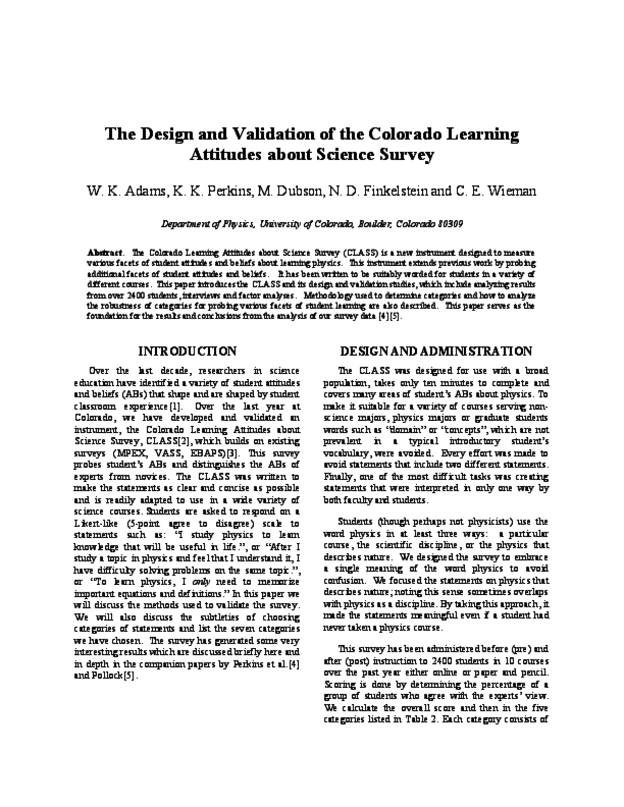 The Design and Validation of the Colorado Learning Attitudes about Science Survey