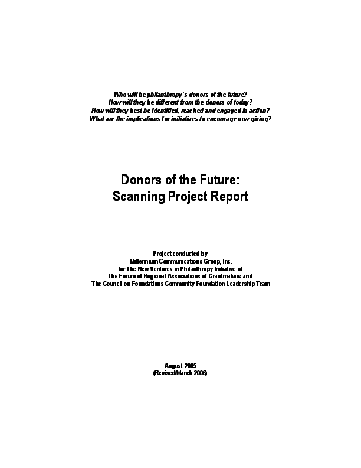 Donors of the Future: Scanning Project Report