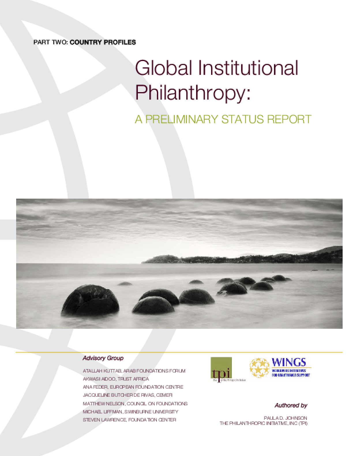 Global Institutional Philanthropy: A Preliminary Status Report - Part 2, Country Profiles