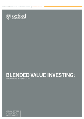 Blended Value Investing: Innovations in Real Estate