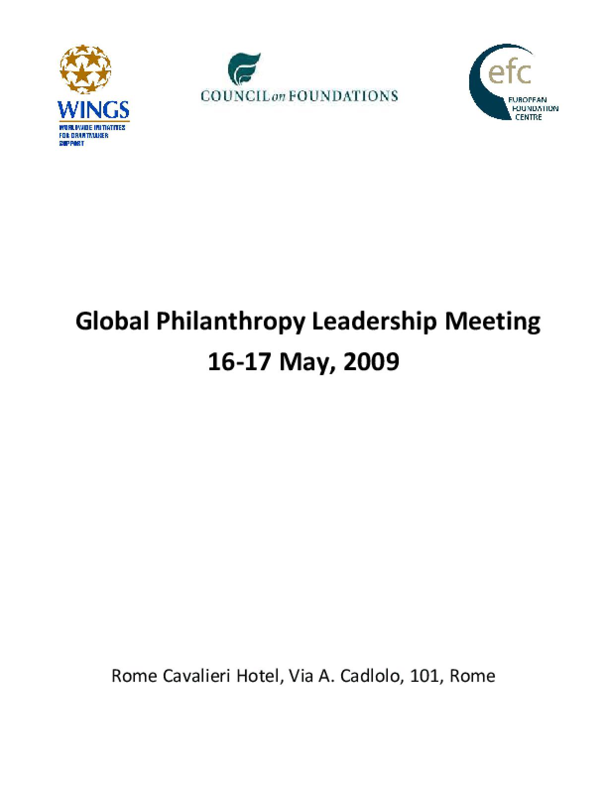 Global Philanthropy Leadership Initiative (GPLI) Rome Dossier 2009