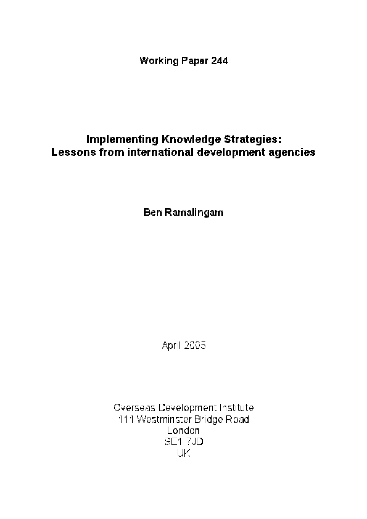 Implementing Knowledge Strategies: Lessons from International Development Agencies
