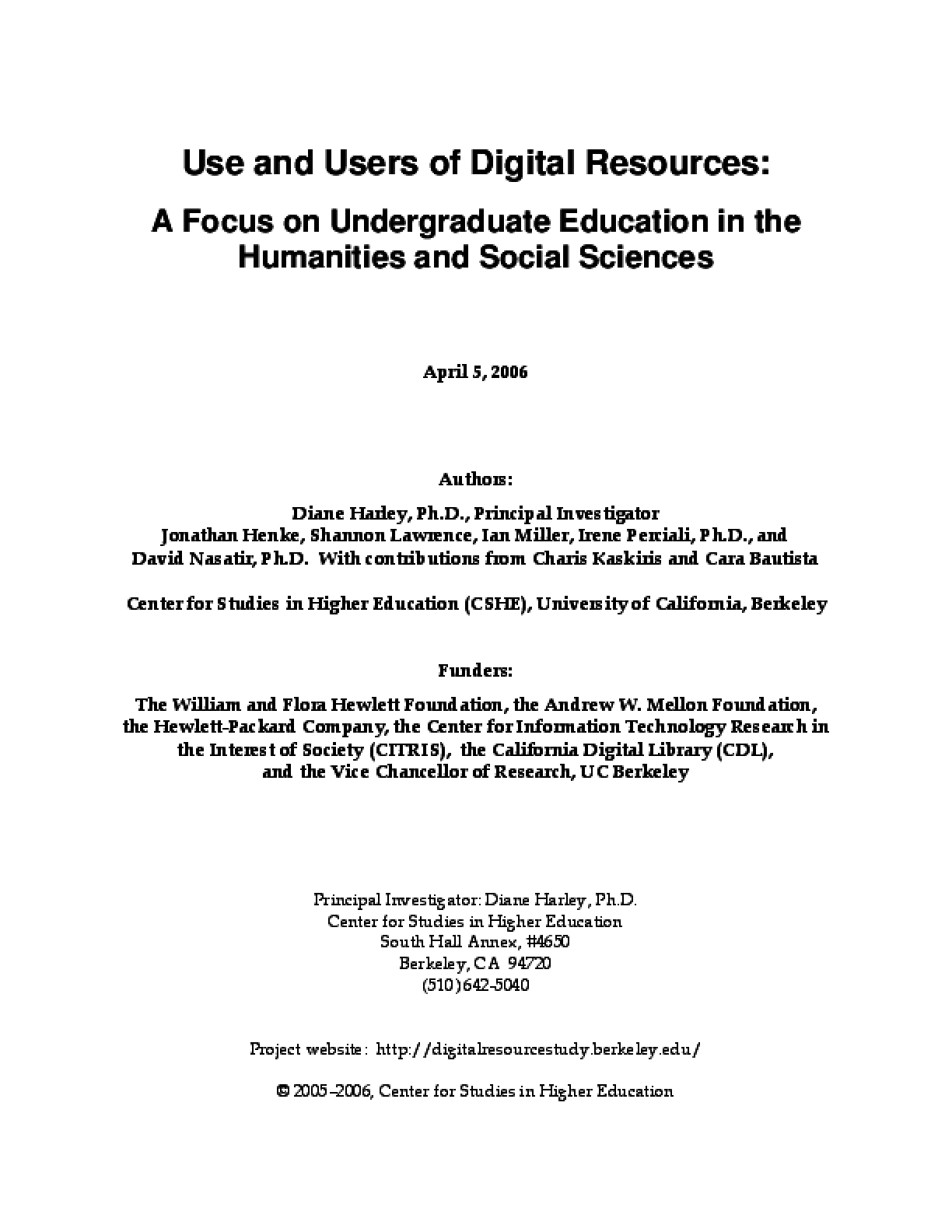 Full Report: Use and Users of Digital Resources: A Focus on Undergraduate Education in the Humanities and Social Sciences