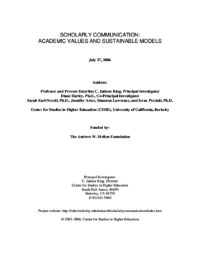 Full Report: Scholarly Communication: Academic Values and Sustainable Models