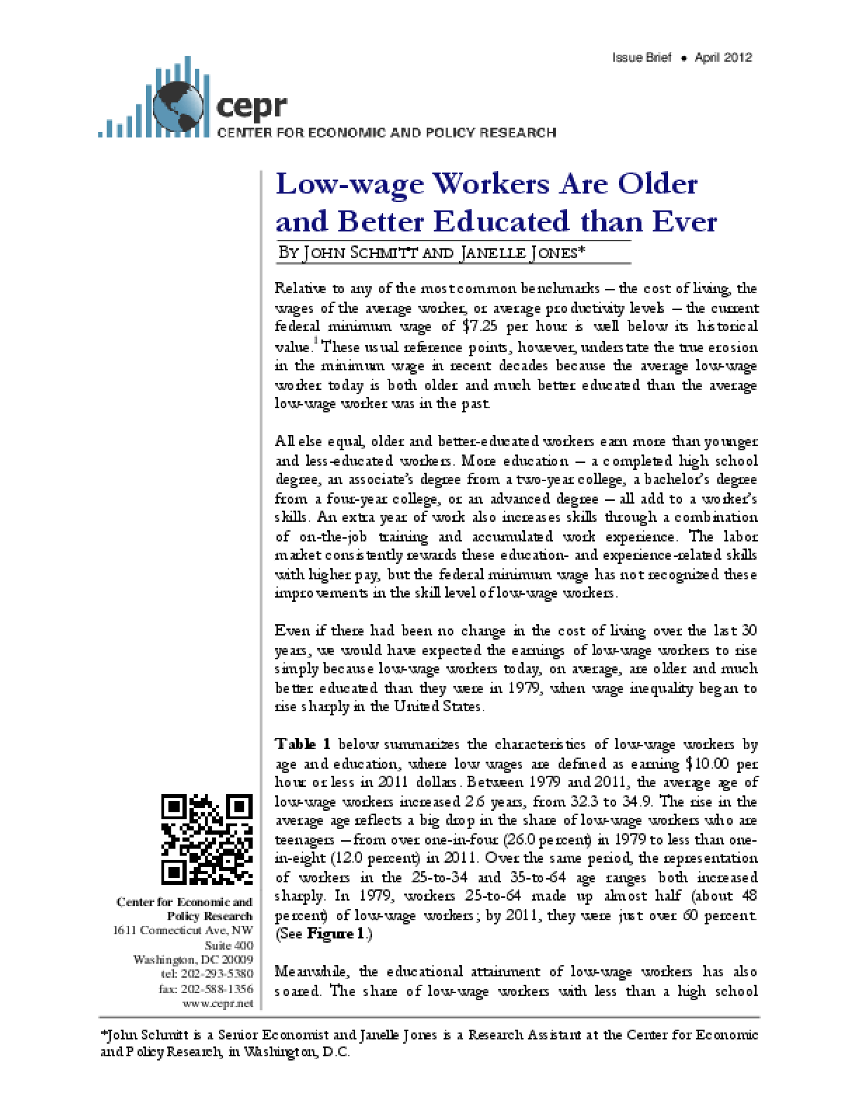 Low-wage Workers Are Older and Better Educated than Ever