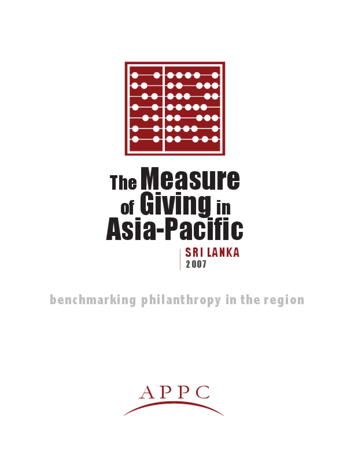 Measure of Giving in Asia Pacific: Sri Lanka 2007