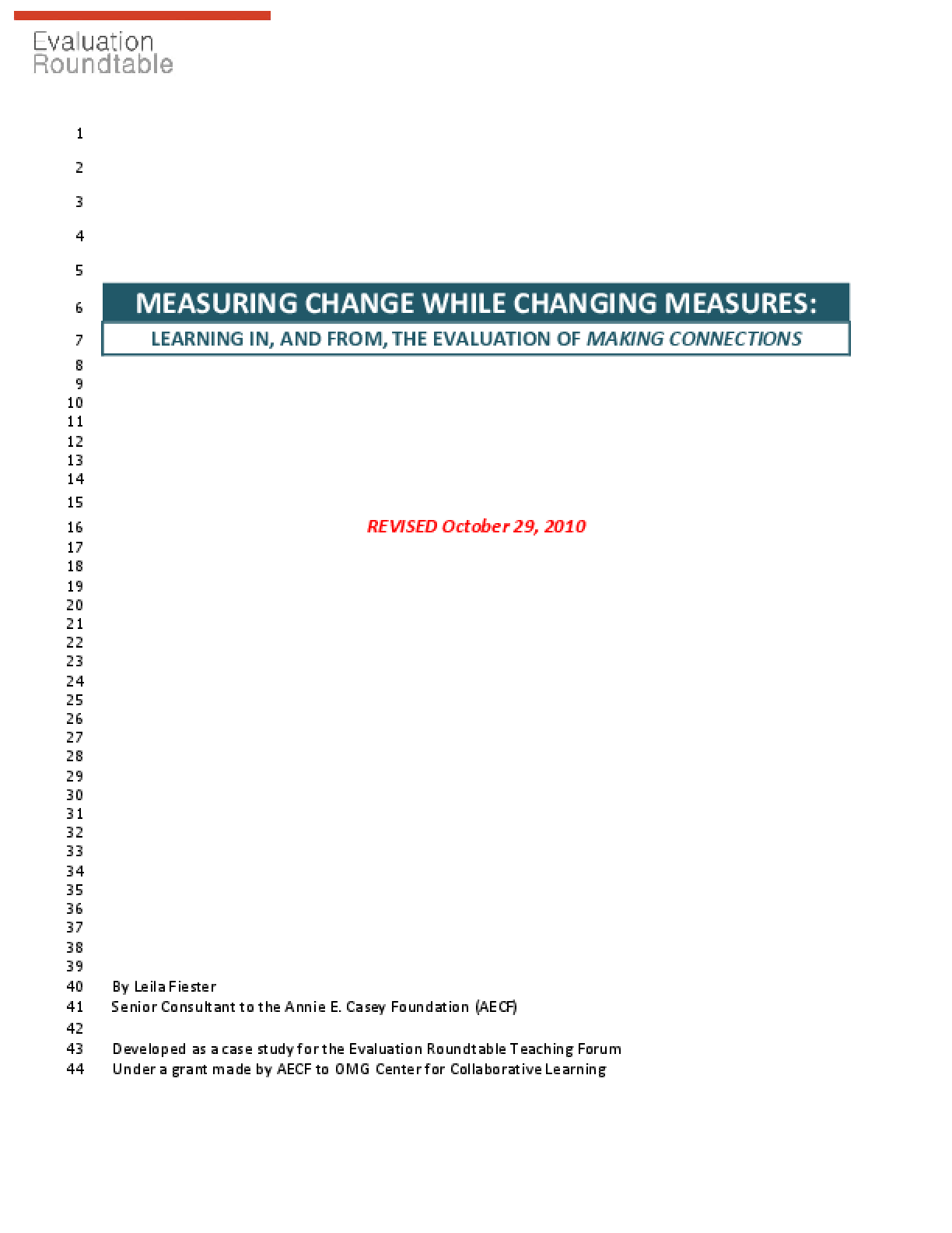 Measuring Change While Changing Measures: Learning In, and From, the Evaluation of Making Connections