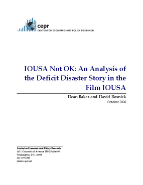 IOUSA Not OK: An Analysis of the Deficit Disaster Story in the Film IOUSA
