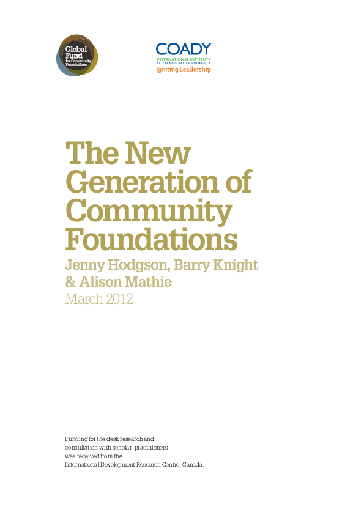 The New Generation of Community Foundations