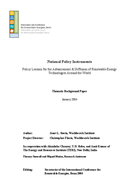 National Policy Instruments: Policy Lessons for the Advancement & Diffusion of Renewable Energy Technologies Around the World