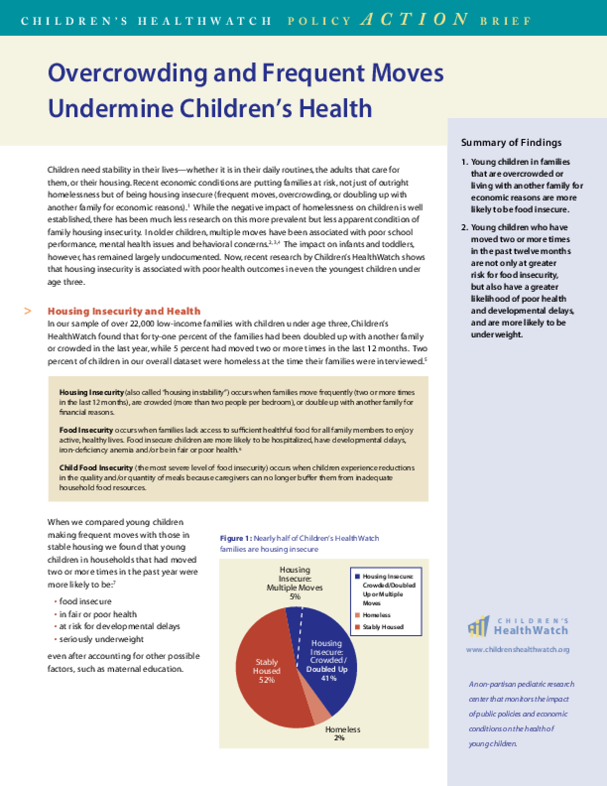 Overcrowding and Frequent Moves Undermine Children's Health