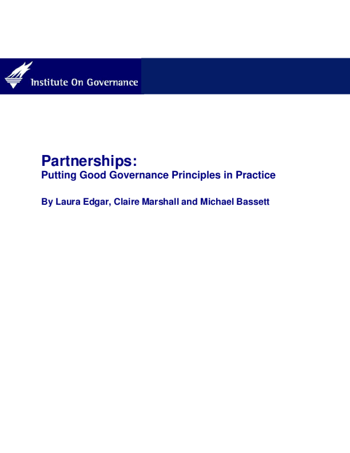 Partnerships: Putting Governance Principles in Practice