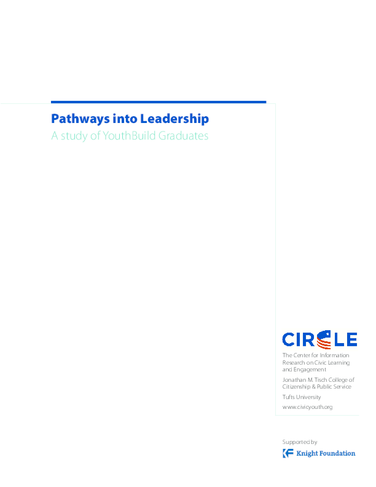 Pathways into Leadership: A study of YouthBuild Graduates