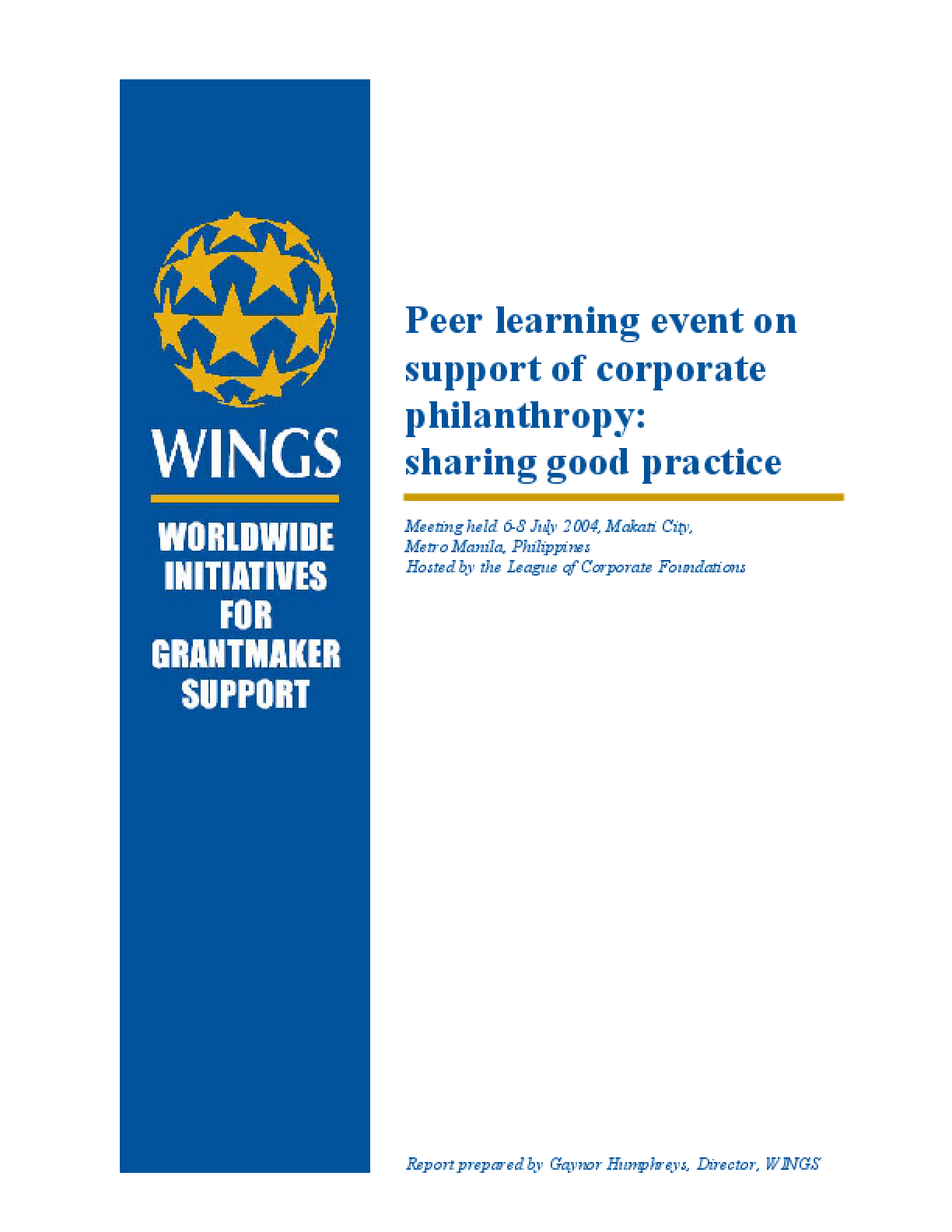 Peer Learning Event on Support of Corporate Philanthropy: Sharing Good Practice