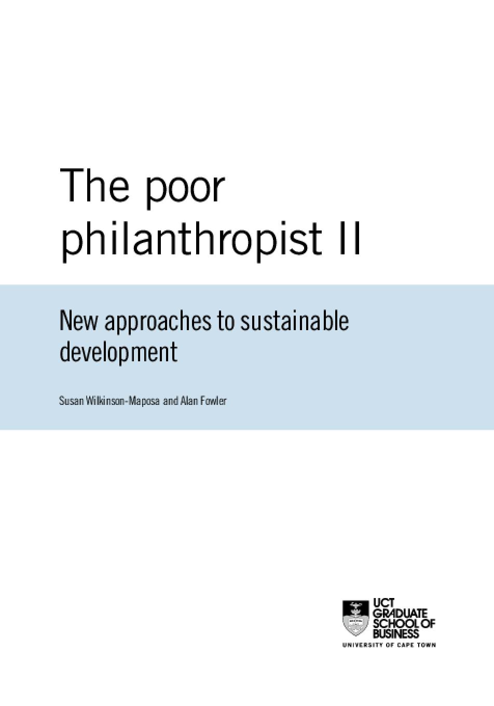 Poor Philanthropist II: New approaches to sustainable development