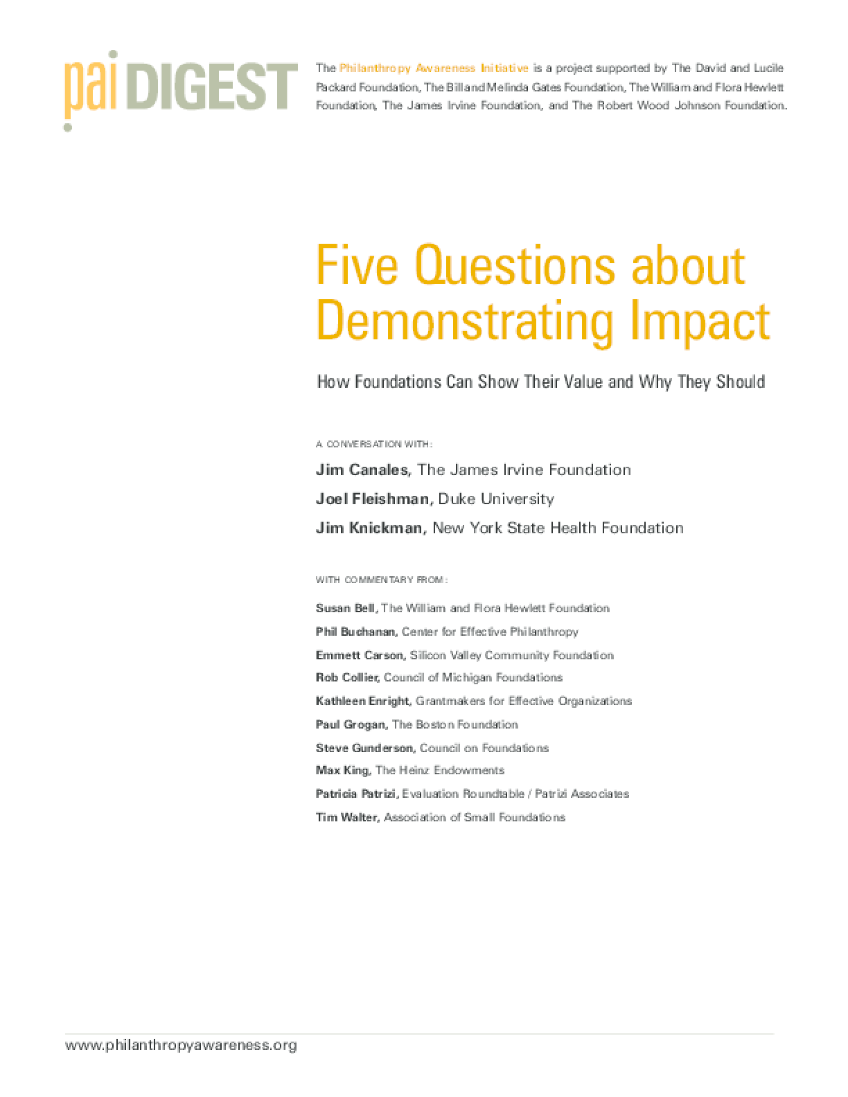 Five Questions about Demonstrating Impact