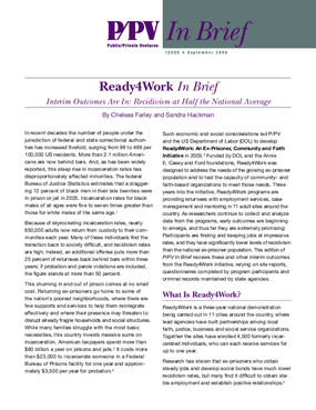 Ready4Work In Brief Interim Outcomes Are In: Recidivism at Half the National Average