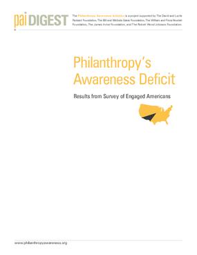 Philanthropy's Awareness Deficit