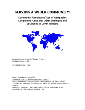 Serving a Wider Community: Community Foundations' Use of Geographic Component Funds and Other Strategies and Structures to Cover Territory