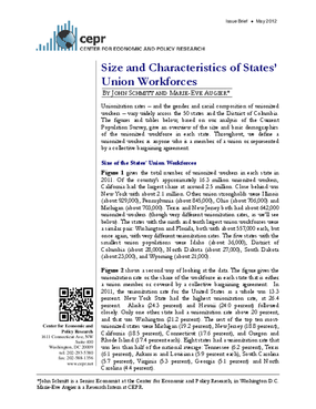 Size and Characteristics of States? Union Workforces