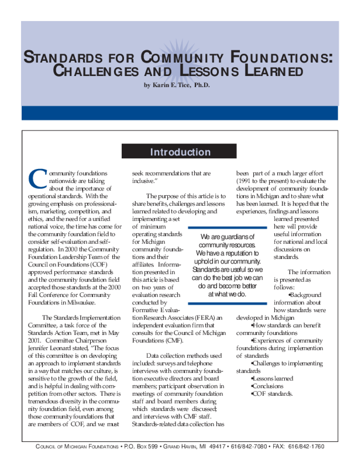 Standards for Community Foundations: Challenges and Lessons Learned