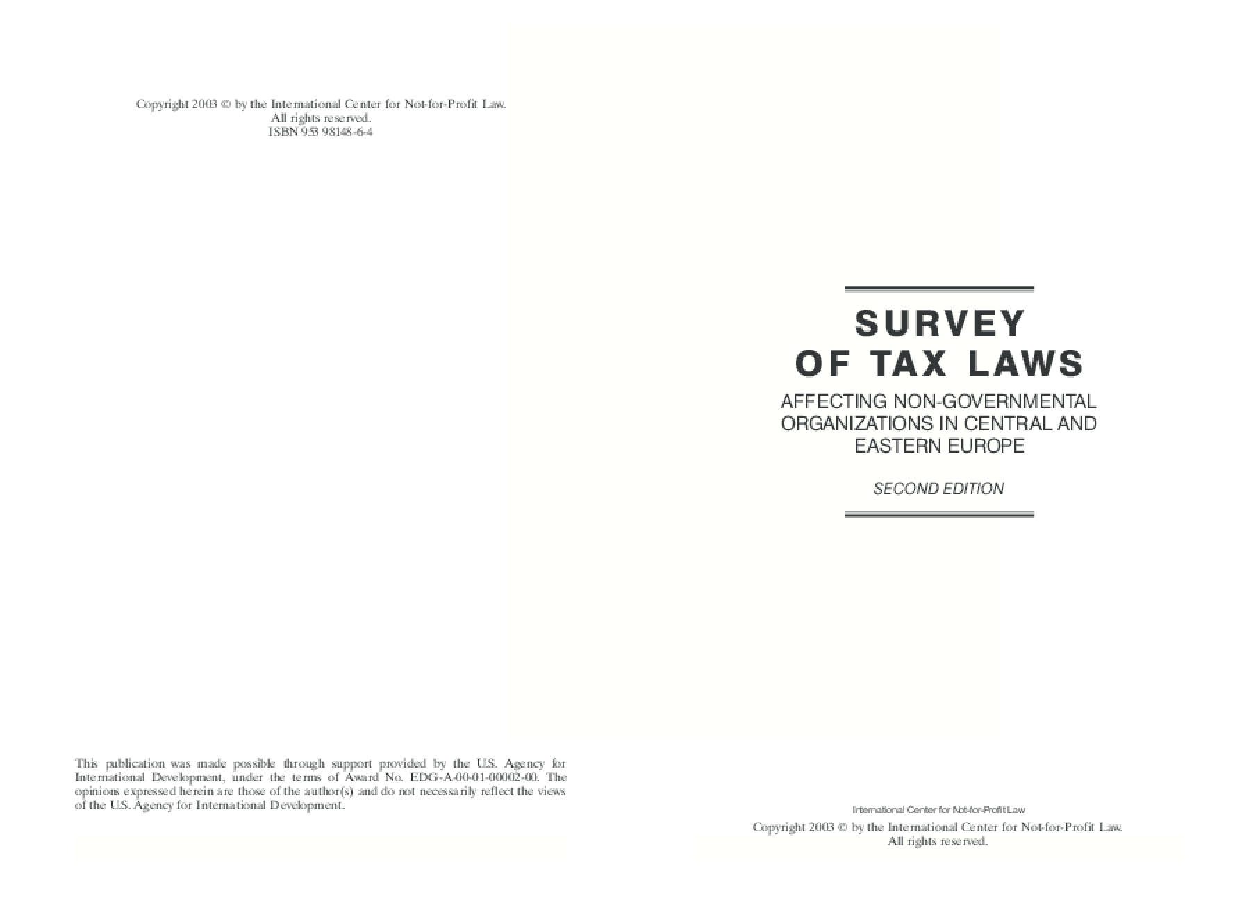 Survey of Tax Laws Affecting Non-governmental Organizations in Central and Eastern Europe
