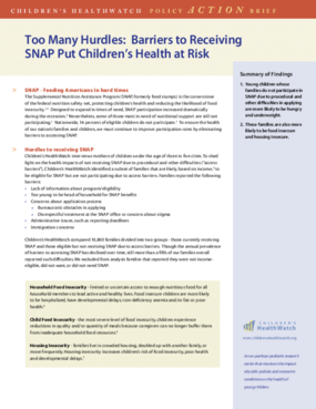 Too Many Hurdles: Barriers to Receiving SNAP Put Childrens Health at Risk