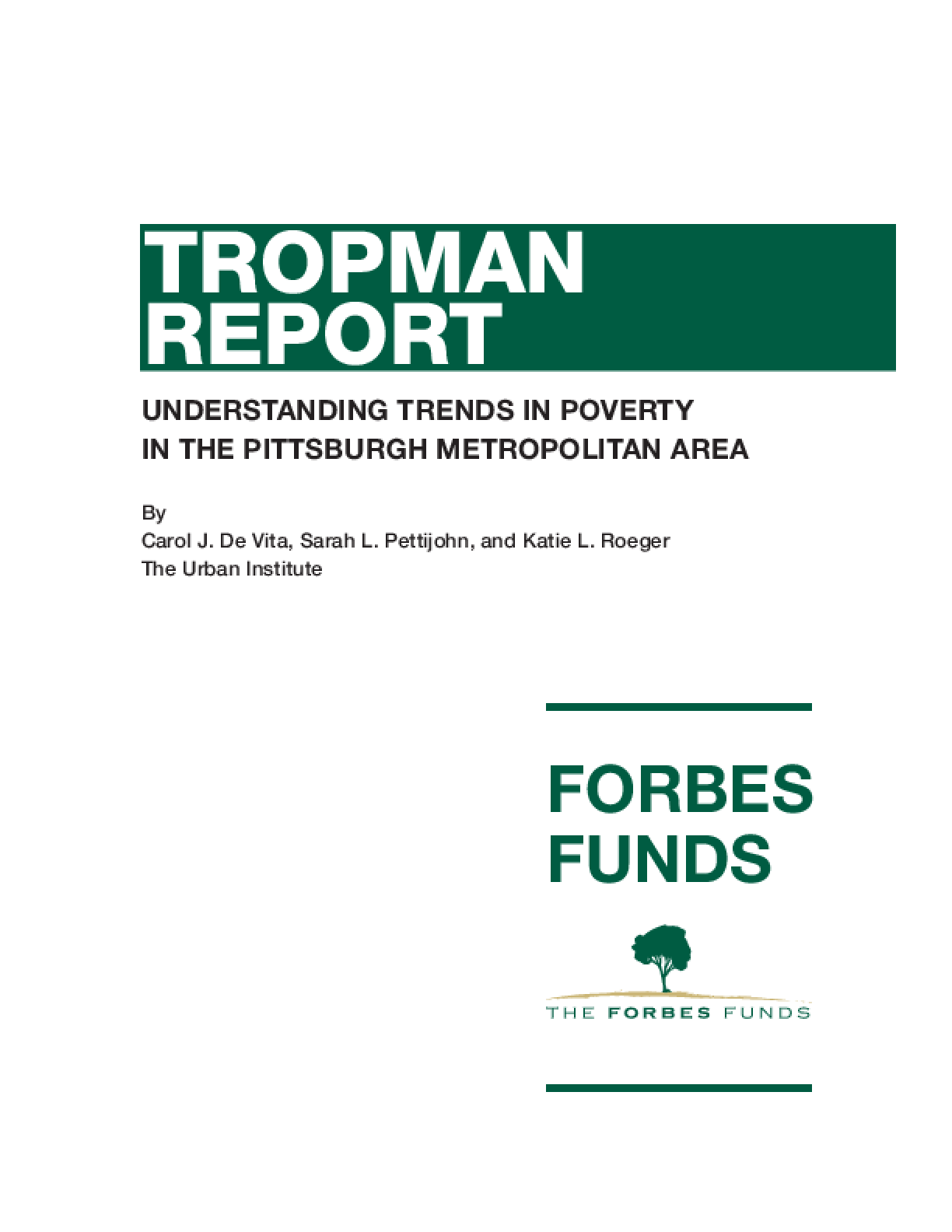 Understanding Trends in Poverty in the Pittsburgh Metropolitan Area
