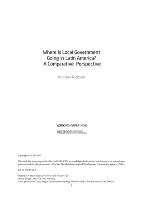 Where Is Local Government Going in Latin America? A Comparative Perspective