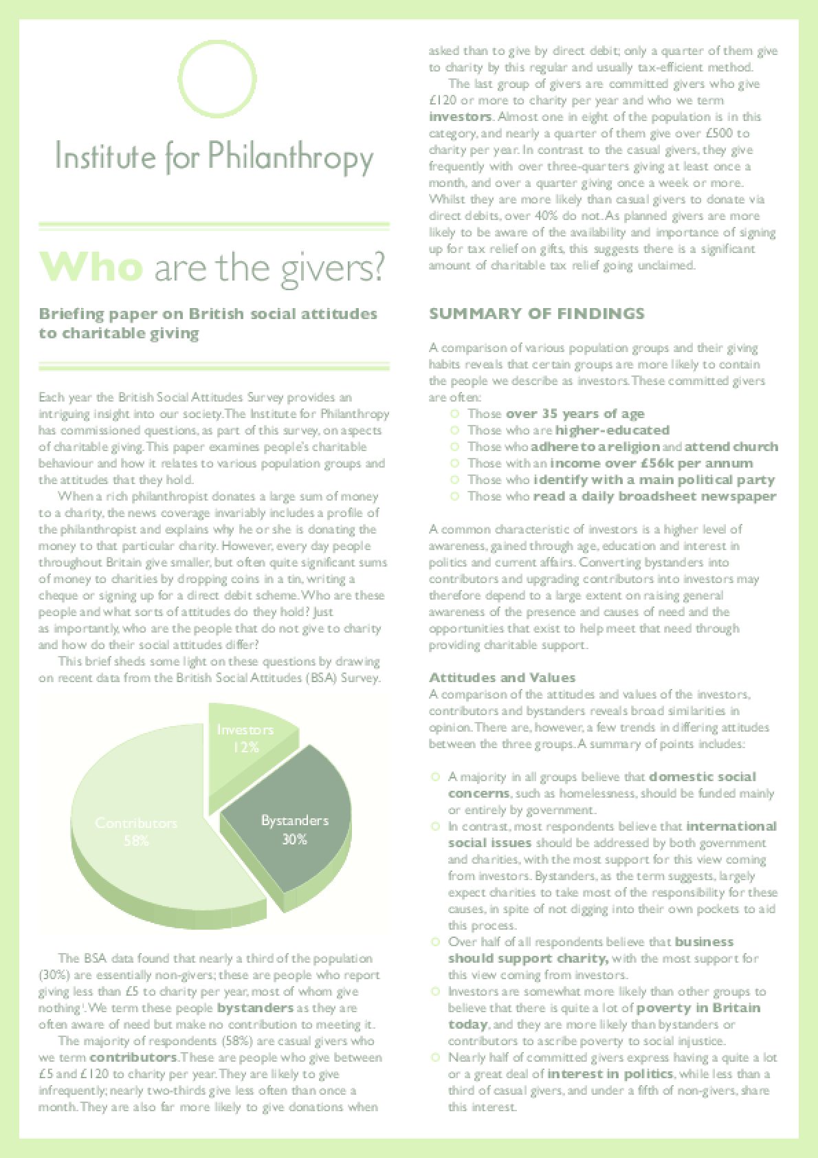Who Are the Givers? Briefing Paper on British Social Attitudes to Charitable Giving