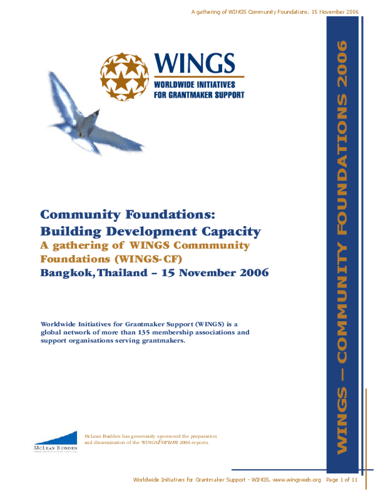 Community Foundations: Building Development Capacity, A Gathering of WINGS Community Foundations (WINGS-CF)