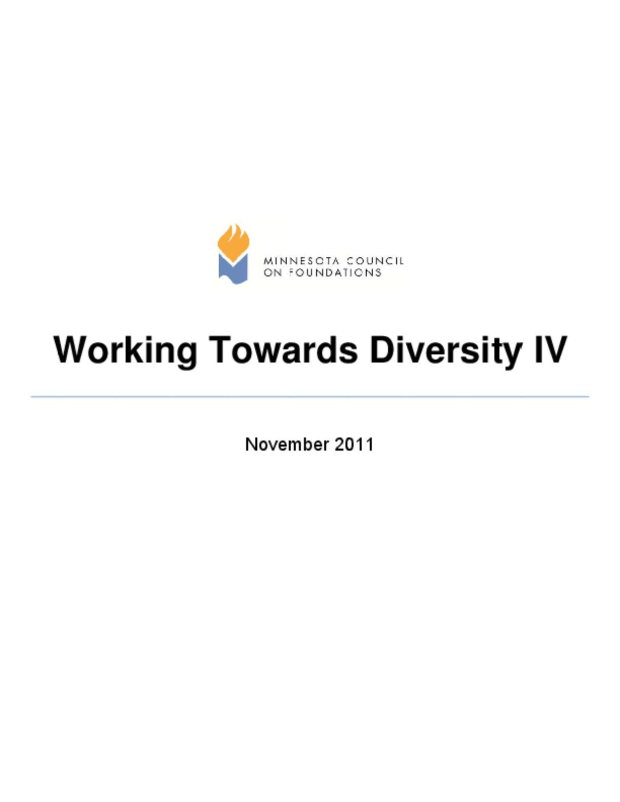 Working Towards Diversity IV