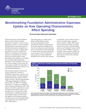 Benchmarking Foundation Administrative Expenses: Update on How Operating Characteristics Affect Spending